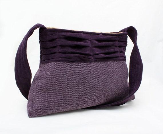 Handbag Pleated Purple Purse in Suedecloth Everyday Bag
