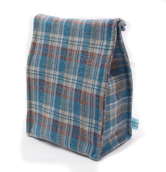 Insulated Blue Plaid Lunch Bag
