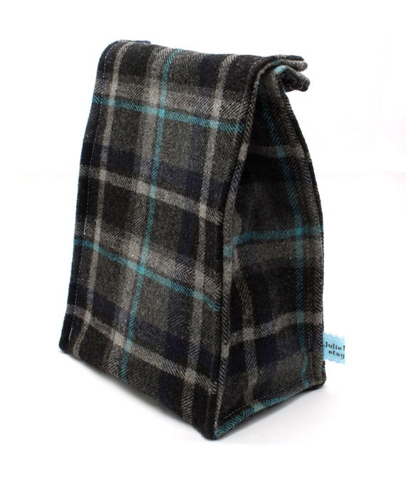 Father's Day Insulated Lunch Bag in Washable Wool