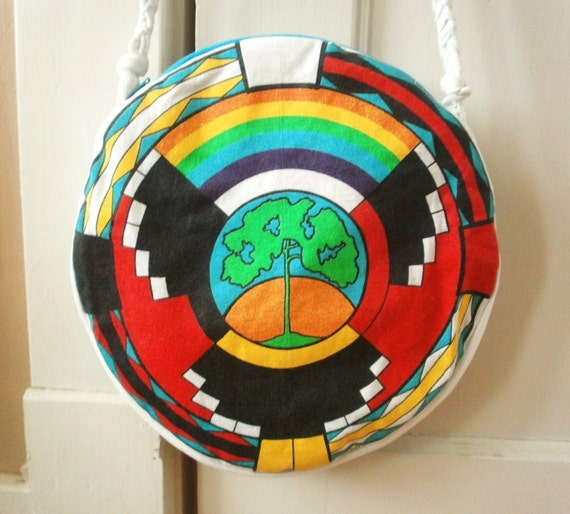 Upcycled Colorful Native American Tree Screenprint Circular Purse