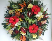 Last two, Custom order,  Large Tropical wreath, Spring wreath, Summer wreath, floral wreath, front door wreath, hibiscus