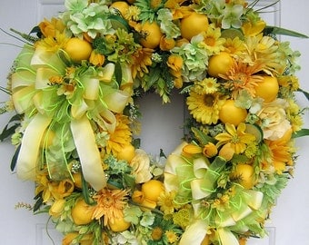 Custom order, Beautiful Spring Summer wreath, lime green & yellow wreath,  door wreath, lemons, limes,  floral