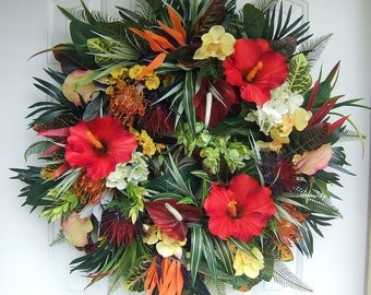 Custom order,  Large Tropical wreath, Spring wreath, Summer wreath, floral wreath, front door wreath, hibiscus