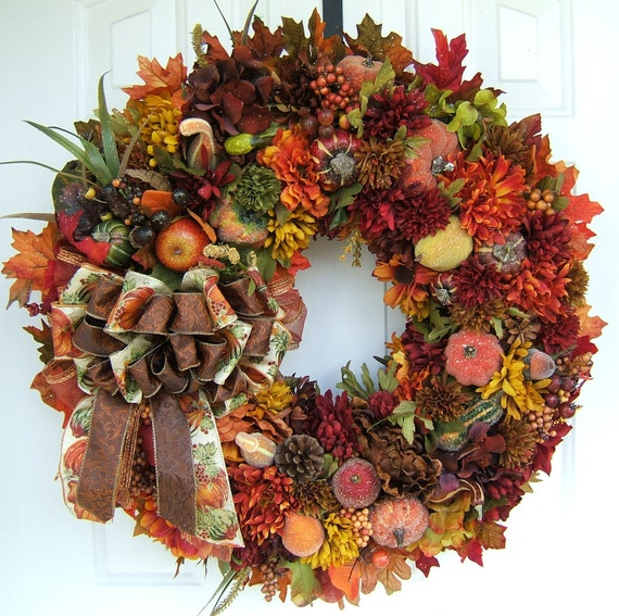 Beautiful Handmade Autumn Wreath Fall Door Wreath Floral