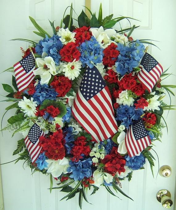XL Patriotic door wreath, 4th of July wreath, Floral wreath, Memorial Day wreath, USA,  Americana, Summer