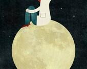 On the moon print
