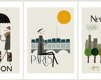 City prints: Set of three big prints