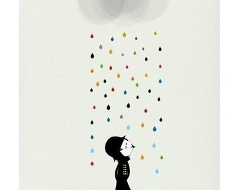 Mademoiselle under the rain print