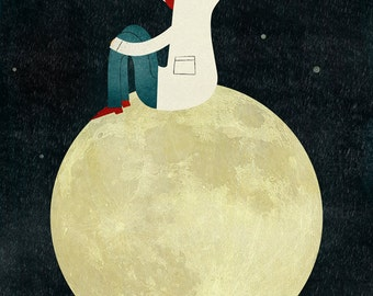 On the moon print