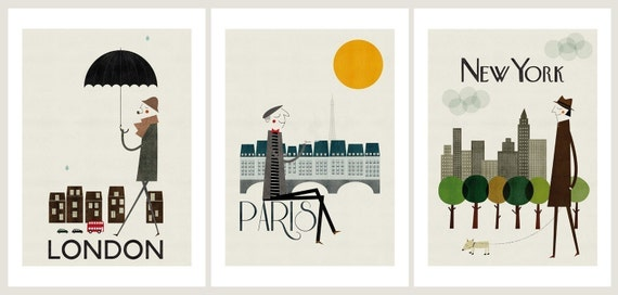 Cities, set of three prints