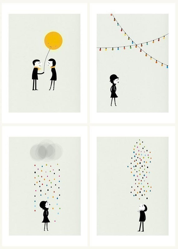M and M set of four prints