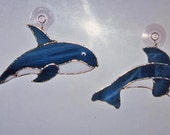 Dolphin Suncatcher - Whale Suncatcher - Stained Glass Dolphin - Stained Glass Whale - Stained Glass Suncatcher