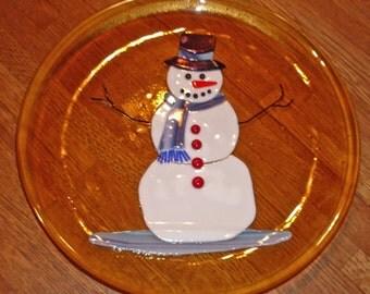 Snowman Plate - Snowman Fused Glass Plate - Snowman Cookie Plate - Snowman Platter
