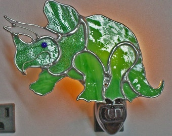 Dinosaur NLs 3 Types - Triceratops - Tyrannosaurus Rex - Brontosaurus - Stained Glass Dinosaur Nightlights