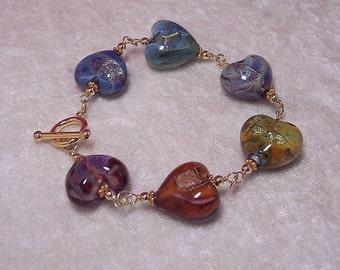 LOVE - Heart Bracelet in Lampwork Glass and 14K Gold-Filled