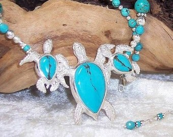 TRIPLE SEA TURTLE - Necklace in Turquoise, and Sterling Silver