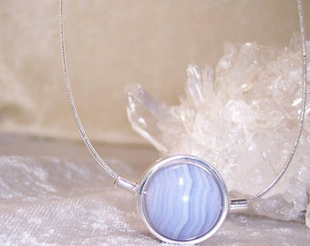 BLUE LACE AGATE Stone Sphere Necklace