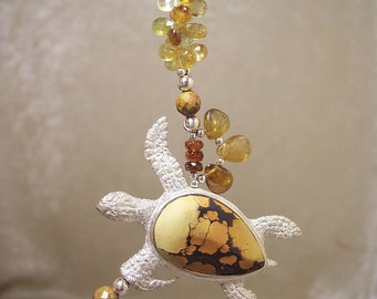 SEA TURTLE - Necklace in Turquoise, Hessonite Garnet, and Sterling Silver