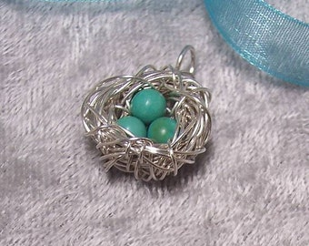 ROBINs EGGS - Nest Pendant in Turquoise and Sterling Silver