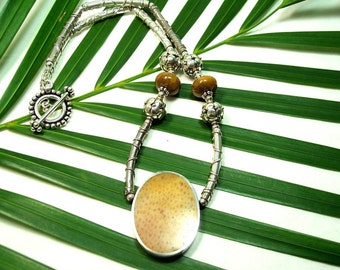 TOO COOL - OOAK Reversible Necklace in Petrified Palmwood, Petrified Wood, and Sterling Silver