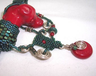 PEYOTE on PEYOTE - OOAK Necklace in Coral, Turquoise, Delicas, and Sterling Silver