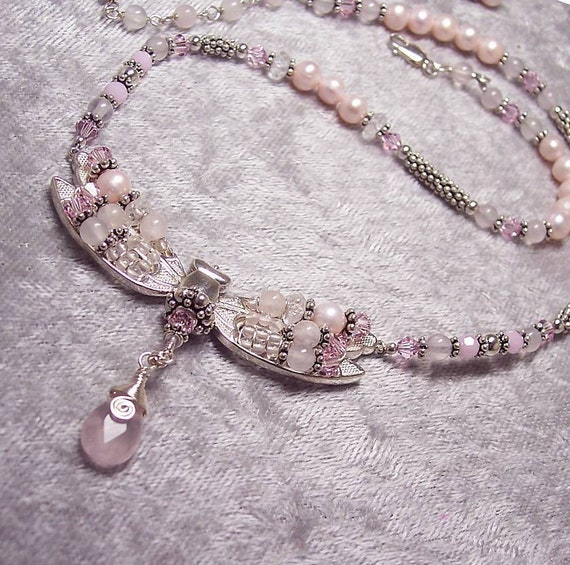 FORGIVENESS - Dragonfly Necklace in Rose Quartz, Morganite, Pearl, Swarovski, and Sterling Silver