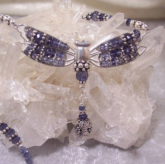 WATER SAPPHIRE - Dragonfly Necklace in Iolite and  Sterling Silver