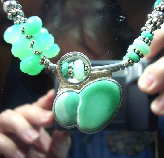 MARVELOUS MINT - OOAK Necklace of Variscite, Chrysoprase, and Sterling Silver