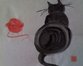 Cat and Red Yarn on rice paper