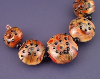 Melted caramel lentil lampwork glass bead set - 5 - SRA handmade