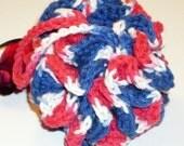 HALF PRICE SALE Crocheted bath puff in patriotic colors cotton - SMALL