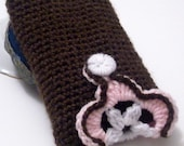 HALF PRICE SALE Crocheted Case in brown with pink and white flower - Neapolitan