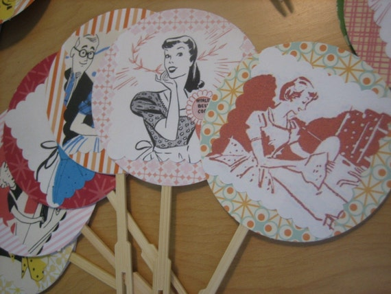 Handmade Cupcake Toppers - Happy Homemaker Set