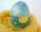 SALE Fuzzy Chick Needle Felted Spring Easter Egg