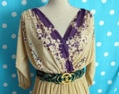 70s Sheer Beige & Purple Wrap Dress with Lace Up Back, Size Small to Medium