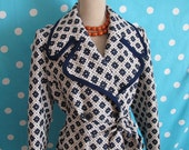 RESERVED for NICOLE 60's Mod Navy Tapestry Flower Print Double Breasted Coat, Size Large to XL