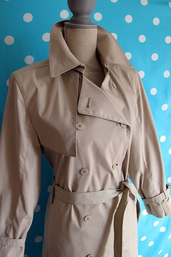 80s Classic London Fog Beige Trench Coat, Size Small to Large, Petite