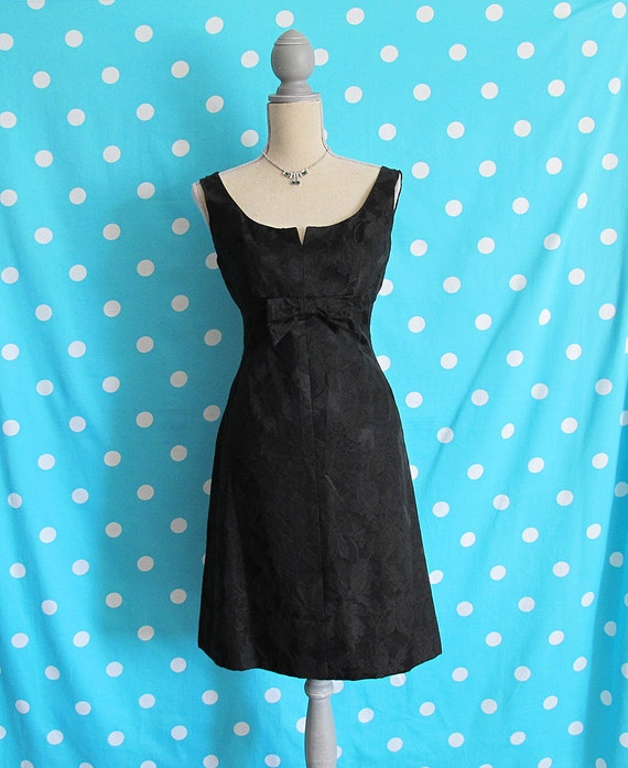 60s Jane Andre California Brocade Little Black Dress, Size XS to SMALL