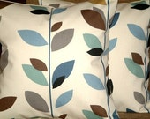 "2 New 16"" Teal Duck Egg Blue Brown Black Grey Cream Leaf Print Funky Designer Retro Pillow Cases,Cushion Covers,Throw Pillow,NEW FABRIC"