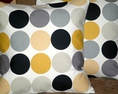 "2 16"" Mustard Yellow Grey Black Spot Print Design Funky Designer Retro Pillowcases,Home Decor Pillow,Pillow Covers,NEW FABRIC"
