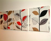 Handmade Set Of 3 Contemporary Modern Designer Retro Print Design Very Funky Red Grey Gray Brown Black Off White Leaf Branch Tree Print Wall Hanging Canvases Fabric Wall Art Wall Decor,NEW FABRIC