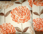 Pair Of New 16 inch Handmade Tangerine Orange Brown Print Design Funky Contemporary Designer Retro Pillow Cases,Cushion Covers,Pillow Covers,Throw Pillow,NEW FABRIC