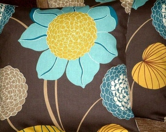 "2 18"" Contemporary Modern Chocolate Blue Saffron Yellow Flower Retro Cushion Covers,Pillowcases,Pillow Covers,Pillow Shams,Throw Pillow"