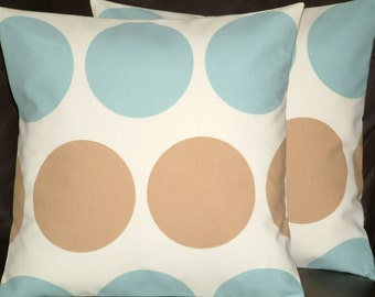 "2 16"" Modern Contemporary Duck Egg Blue, Light Brown Spots Funky designer retro Pillowcases , Cushion Covers, Pillow Covers, Pillow"
