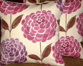 Two New 16 inch Modern Contemporary Purple Plum Flower Print Design Funky Designer Retro Cotton Pillow Cases,Cushion Covers