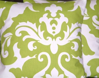 "2 16"" Modern Kiwi Green Damask Design Funky Designer Retro Contemporary Cotton Pillow Cases,Cushion Covers,Pillow"