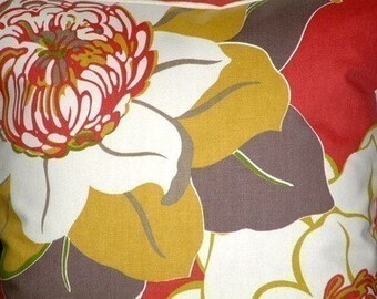 "2 18""Contemporary Pomegranate Raspberry Green Brown Cream Flower Designer Pillowcases,Cushion Covers,Pillows,Pillow Slips,NEW FABRIC"