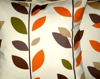 "2 16""Caramel Orange Sage Green Brown Black Leaf Print Contemporary Designer Pillowcases,Cushion Covers,Pillow Covers,Throw Pillow,NEW FABRIC"