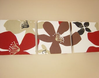 Handmade Set Of 3 Contemporary Red Chocolate Brown Flowers Black Wall Hanging Canvases Wall Art