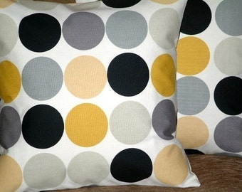 "2 18"" Mustard Yellow Gray Black Spot Print Design Funky Contemporary Retro Pillowcases,Cushion Covers,Pillow Covers,Throw Pillow,NEW FABRIC"
